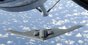 Mechanism Photo Prints - A B-2 Spirit Approaches The Refueling Print by Stocktrek Images