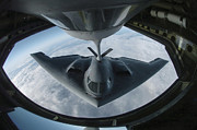Stealth Prints - A B-2 Spirit Bomber Refuels Print by Stocktrek Images