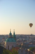 Prague Castle Framed Prints - A balloon over Prague Framed Print by Hideaki Sakurai
