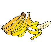 Banana Art Digital Art Posters - A Banana Bunch And A Peeled Banana Poster by Wolfgang Herzig