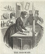 Occupational Portraits Posters - A Barmaid In 1850s New York City Earned Poster by Everett