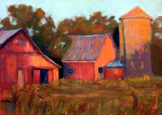 Outbuildings Pastels Posters - A Barn At Sunset Poster by Cheryl Whitehall