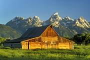 Wooden Building Posters - A Barn At The Base Of Grand Teton Poster by Robbie George
