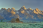 Wooden Building Posters - A Barn In The Rocky Mountains Poster by Robbie George