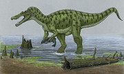 Dinosaur Illustration Posters - A Baryonyx Walkeri Dinosaur Catches Poster by Heraldo Mussolini