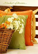 Cushions Art - A Basket of Blooms by Holly Kempe