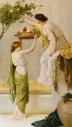 Neo-classical Painting Framed Prints - A Basket of Roses - Grecian Girls Framed Print by Henry Thomas Schaefer
