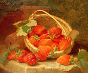 Wild Strawberries Posters - A Basket of Strawberries on a stone ledge Poster by Eloise Harriet Stannard