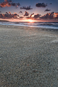 Sea Shore Prints - A beach during sunset with glowing sky Print by Ulrich Schade