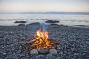 Sooke Prints - A Beach Fire On The Shores Of Vancouver Print by Taylor S. Kennedy