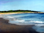 New England. Pastels Prints - A Beach in Smithfield Print by Cindy Plutnicki
