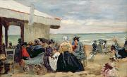 Sandy Beaches Painting Framed Prints - A Beach Scene Framed Print by Eugene Louis Boudin