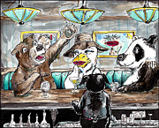 Pig Drawings - A Bear a Duck and a Panda Walk into a Bar by Big Tasty