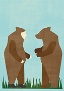 One Person Digital Art Prints - A Bear And A Man Dressed As A Bear Looking At One Another Print by Bea Crespo