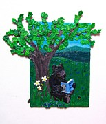 Republic Mixed Media Posters - A Bear at his Books Poster by Sarah Swift
