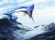 Tropical Fish Posters - A Beautiful Blue Marlin Bursts Poster by Corey Ford