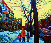 Montreal Streets Painting Originals - A Beautiful Day by Carole Spandau