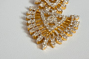 Gold Necklace Prints - A beautiful gold and diamond pendant on a white background Print by Ashish Agarwal