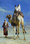 Orientalist Painting Framed Prints - A Bedoueen Family in Wady Mousa Syrian Desert Framed Print by Carl Haag
