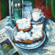 Newspaper Posters - A Beignet Morning Poster by Dianne Parks