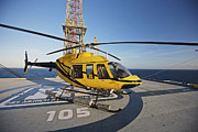 Offshore Drilling Framed Prints - A Bell 407 Utility Helicopter Framed Print by Terry Moore