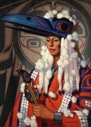 Ravens Photo Prints - A Bellacoola Woman Wears A Raven Print by W. Langdon Kihn