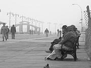 Talking Metal Prints - A Bench at Coney Island Metal Print by Peter Aiello