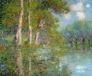 Trees Reflecting In Water Metal Prints - A Bend in the Eure Metal Print by Gustave Loiseau