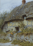Architectural Landscape Paintings - A Berkshire Cottage  by Helen Allingham