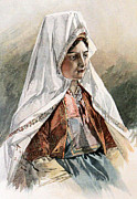 Bethlehem Drawings Prints - A Bethlehemite Young Lady Print by Munir Alawi