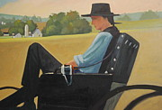 Amish Buggy Paintings - A Better Way by Len Stomski
