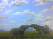 Hilton Mwakima Art - A big kiss by Hilton Mwakima