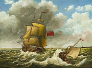 Eric Bellis Metal Prints - A Bilander and a Dutch Barge in Rough Seas Metal Print by Eric Bellis