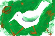 Colored Background Art - A Bird Against A Green Background by Mamiko Ohashi