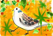 Green Color Art - A Bird Against A Yellow And Green Background by Mamiko Ohashi