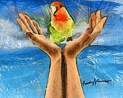 Pencil Drawing Posters - A Bird in Two Hands Poster by Anthony Caruso