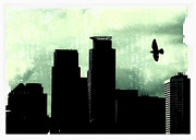 Skyline Photo Framed Prints - A Bird Over Minneapolis Framed Print by Susan Stone