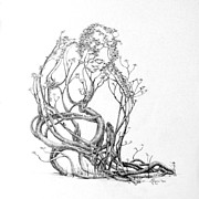 Tree Roots Drawings Prints - A Bit of News Print by Mark Johnson