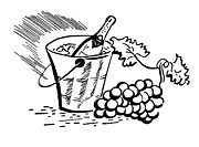 White Grape Prints - A Black And White Version Of A Vintage Illustration Of A Bottle Of Wine And Fresh Grapes Print by Coco Flamingo