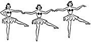 Performing Arts Digital Art Prints - A Black And White Version Of Three Ballerinas Dancing In A Row Print by Coco Flamingo