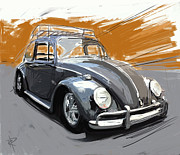 Volkswagon Posters - A Black Bug Poster by Russell Pierce