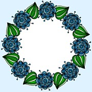 Green Color Art - A Blue And Green Flower Border by Lana Sundman