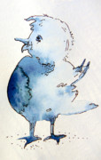 Happiness Drawings Originals - A Blue Bird Named Happy by Mindy Newman