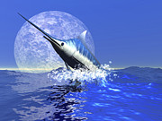 Tropical Fish Posters - A Blue Marlin Bursts From The Ocean Poster by Corey Ford