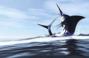 Marlin Digital Art Framed Prints - A Blue Marlin Jumps Through The Ocean Framed Print by Corey Ford