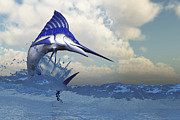 Isolated Digital Art - A Blue Marlin Shows Off His Beautiful by Corey Ford