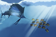 Game Fish Digital Art Posters - A Blue Marlin Swims After A School Poster by Corey Ford