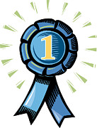 Award Digital Art Posters - A Blue Number One Ribbon Poster by Stephanie Carter