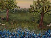 Swing Paintings - A Bluebonnet Swing by Shiana Canatella
