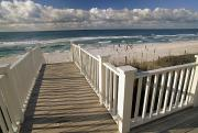 Seaside Florida Framed Prints - A Boardwalk Leads To An Empty Beach Framed Print by Michael Melford